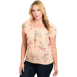 Shop the Trends Women's Plus-size Peach Floral Polyester Top