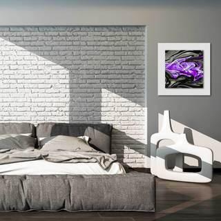 Eric Waddington 'Purple Swirl Clock' Midcentury Modern Style Wall Decor