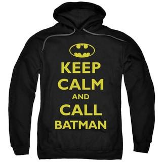 Batman/Call Batman Adult Pull-Over Hoodie in Black