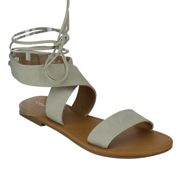 3a6dd9407ffb Shop Beston Women s Lace Up Flat Sandals - Free Shipping On Orders ...