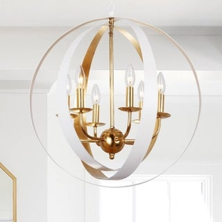 Crystorama Luna Collection 6-light Matte White/Antique Gold Chandelier