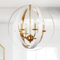 6-light Matte White/Antique Gold Chandelier