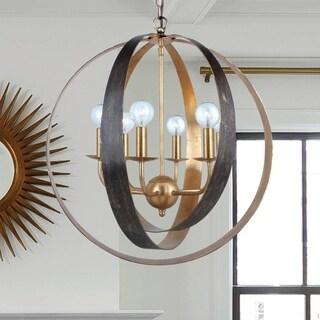 6-light English Bronze/Antique Gold Chandelier