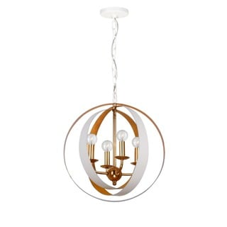 Crystorama Luna Collection 4-light Matte White/Antique Gold Chandelier