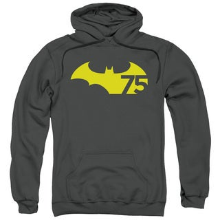 Batman/75 Logo 2 Adult Pull-Over Hoodie in Charcoal