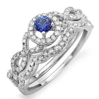 Elora 14k White Gold 5/8ct TGW Blue Sapphire and White Diamond Halo Style Bridal Ring Set (H-I, I1-I2)