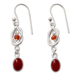 Handmade Sterling Silver 'Festive Red Knot' Onyx Earrings (India)