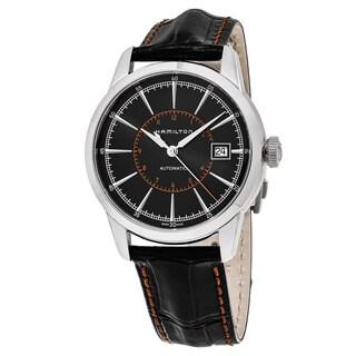 Hamilton Men's H40555731 'Timeless Class' Black Dial Black Leather Strap Railroad Swiss Automatic Watch