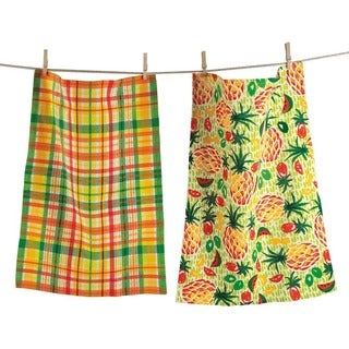 TAG Pineapple Dishtowel Set of 2 Multi Citrus