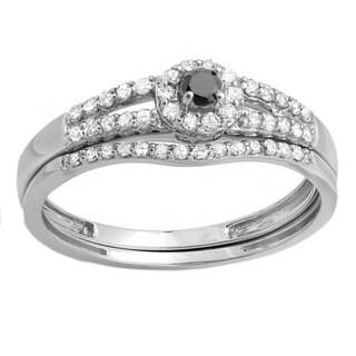 Elora 10k White Gold 2/5ct TDW Black and White Diamond Split Shank Halo Bridal Ring Set (H-I, I1-I2)