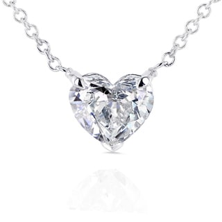 Annello 14k White Gold Floating Heart Certified 3/4ct Diamond Solitaire Necklace (G-I, SI)