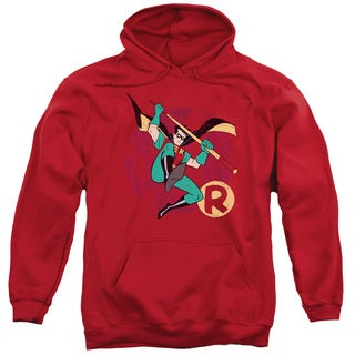 Batman The Animated Series/Robin Leap Adult Pull-Over Hoodie in Red