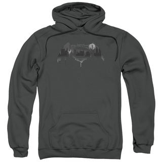 Batman V Superman/Cityscape Logo Adult Pull-Over Hoodie in Charcoal