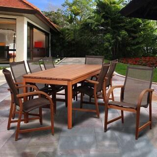 Amazonia Stella Brown Wood 9-piece Rectangular Patio Dining Set