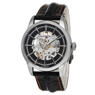 Hamilton Men's H40655731 'Timeless Class' Black Dial Black Leather Strap RailRoad Skeleton Swiss Automatic Watch