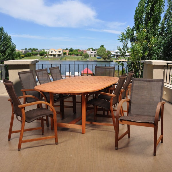 Havenside Home Popham 9-piece Brown Oval Extendable Patio Dining Set