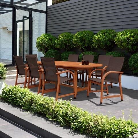 Amazonia Cosmopolitan 9-piece Brown Oval Extendable Patio Dining Set