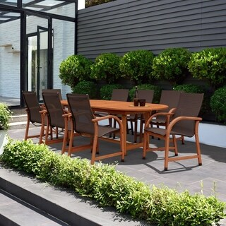 Amazonia Cosmopolitan 9-piece Brown Oval Extendable Patio Dining Set