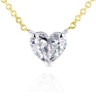 Annello by Kobelli 14k Yellow Gold Floating Heart Certified 3/4ct Diamond Solitaire Necklace