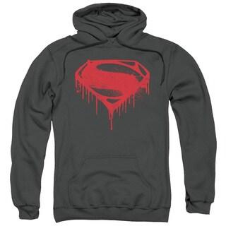 Batman V Superman/Splattered Adult Pull-Over Hoodie in Charcoal
