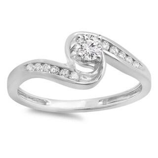 Elora 10k Gold 1/3ct TDW Round Diamond Twisted Swirl Bridal Engagement Ring (H-I, I1-I2)