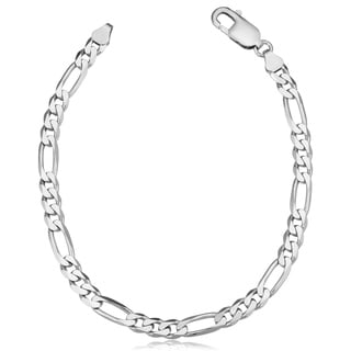 Fremada Italian Rhodium Plated Sterling Silver Men's 5.6-mm Figaro Link Bracelet (8.5 inches)