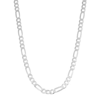 Fremada Italian Rhodium Plated Sterling Silver Men's 4.5-mm High Polish Figaro Link Necklace