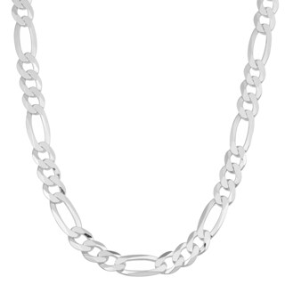 Fremada Italian Rhodium Plated Sterling Silver Men's 5.6-mm High Polish Figaro Link Necklace