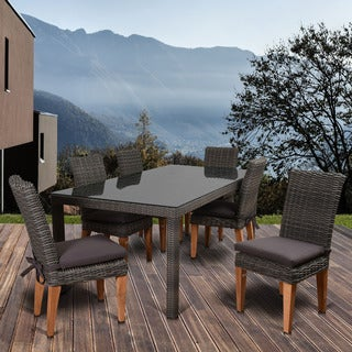 Amazonia Sinclair 7-piece Teak Rectangular Patio Dining Set With Cushions