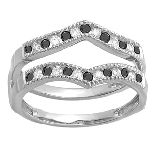 14k White Gold 1/2ct TDW White and Black Diamond Milgrain Wedding Guard Double Ring (H-I, I1-I2)