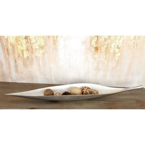 Modern 3 x 31 Inch Silver Aluminum Leaf Bowl by Studio 350 - N/A