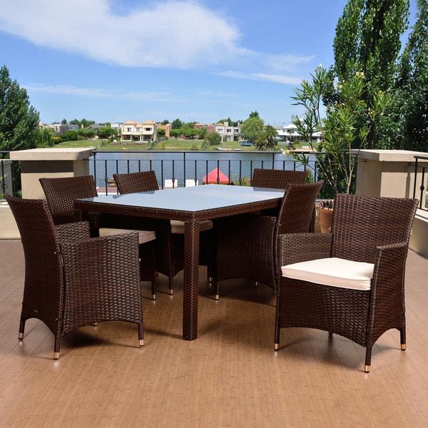 Atlantic Patio Furniture Reviews: Shop Atlantic Liberty Deluxe Brown 7-piece Rectangular