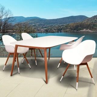Amazonia Hawaii White Natural Wood 5-piece Rectangular Patio Dining Set