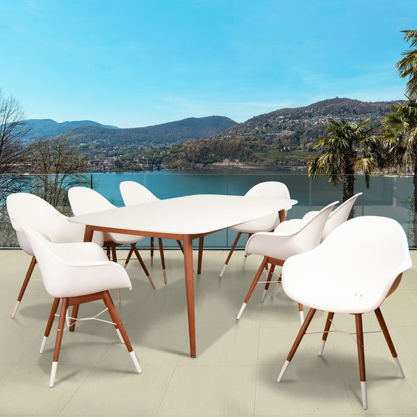 Amazonia Hawaii White 9-piece Rectangular Patio Dining Set