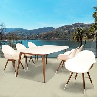 Amazonia Hawaii White Wood/Resin 7-piece Rectangular Patio Dining Set