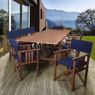 Amazonia Orlando 11-piece Blue Double-leaf Extendable Rectangular Patio Dining Set