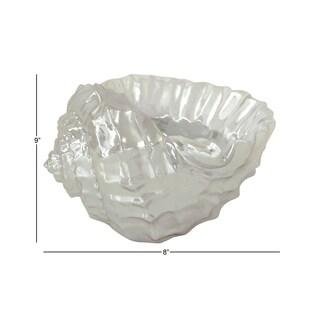 Silver Metal 21.26-inch x 18.5-inch x 15.35-inch Seashell Bowl