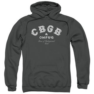 Cbgb/Tattered Logo Adult Pull-Over Hoodie in Charcoal