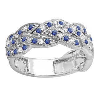 Elora 14k White Gold 1/2ct TDW Round Diamond and Blue Sapphire Wedding Band (H-I, I1-I2)