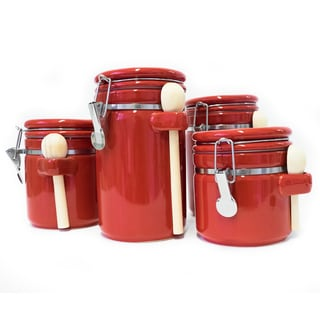 Red Ceramic Airtight 4-piece Canister Set