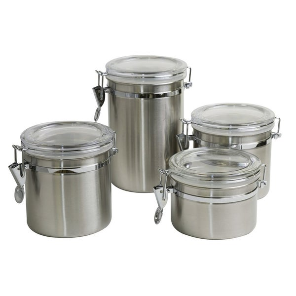 sweet home collection silver stainless steel 4 piece clamp top canister set free shipping on. Black Bedroom Furniture Sets. Home Design Ideas