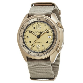 Hamilton Men's H80435895 'Khaki Aviation' Tan Dial Tan Nylon Strap Pilot Pioneer Aluminum Swiss Automatic Watch