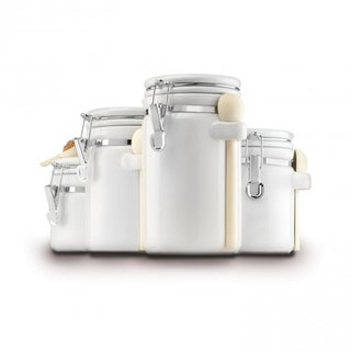 White Ceramic 4-piece Clamp-top Canister Set With Wooden Spoons