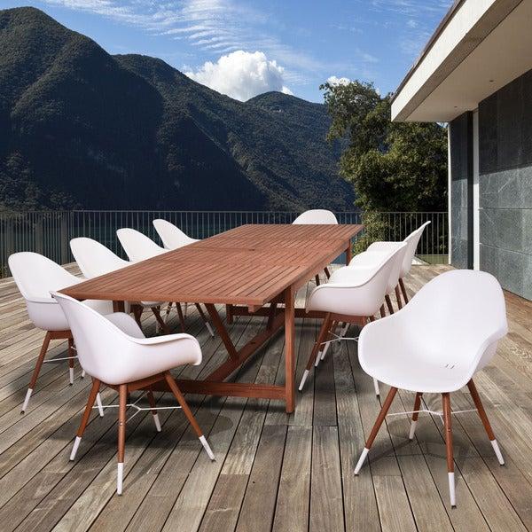 Amazonia Bonita White 11 Piece Extendable Rectangular Patio Dining Set