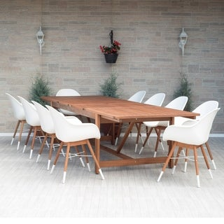 Amazonia Bonita White 11-piece Extendable Rectangular Patio Dining Set