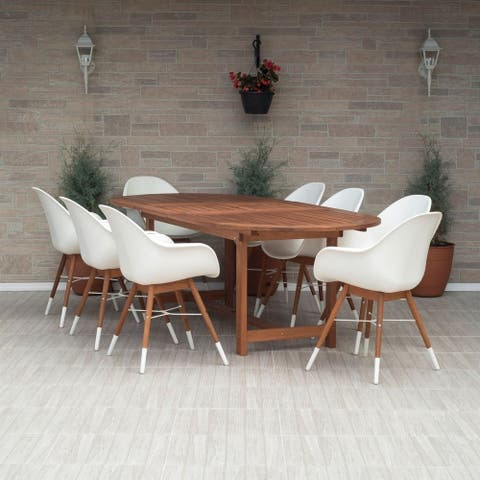 Amazonia Sunflower White 9 piece Extendable Patio Dining Set