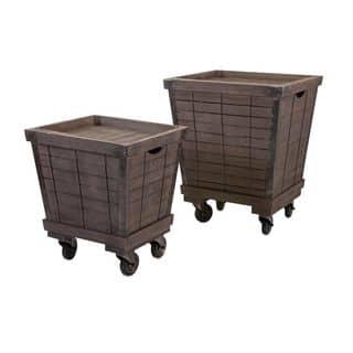 Ella Elaine Wood Cart Tray Side Tables - Set of 2|https://ak1.ostkcdn.com/images/products/11843960/P18746647.jpg?impolicy=medium