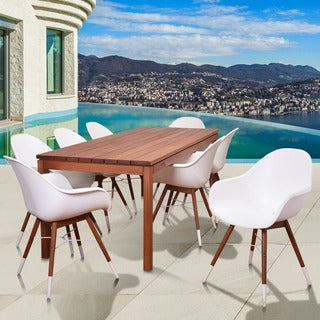 Amazonia Sandpiper White 9-piece Rectangular Patio Dining Set