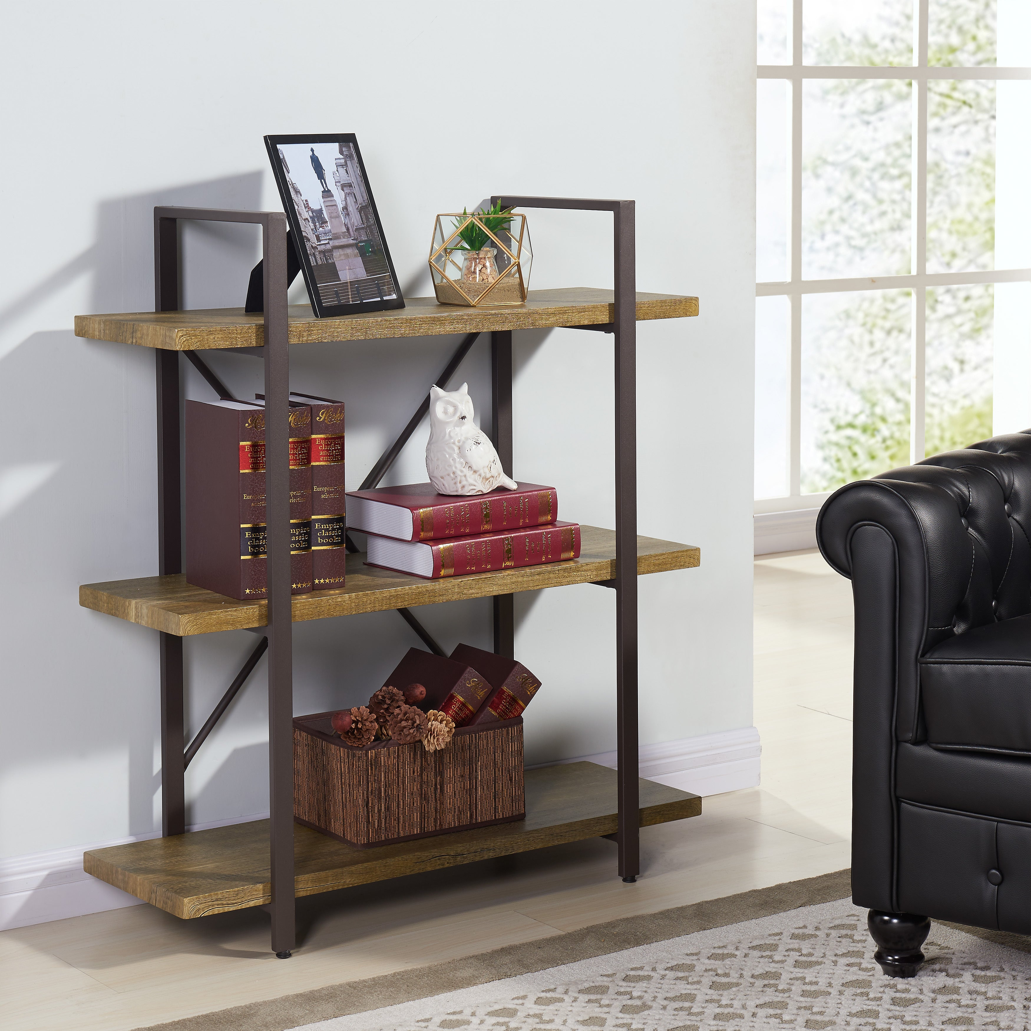 Picture of: Shop Danya B Three Level Rustic Shelving Unit Overstock 11843989