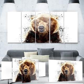 Designart 'Brown Bear'  Yellow Animal Metal Wall Art